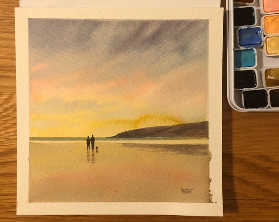 Square small original watercolour painting, Couple and dog on sunset beach.  Lovely, unique watercolor art gift direct from the artist in UK