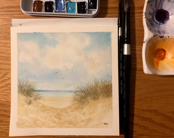 Square small original watercolour painting, Formby beach.  Lovely, peaceful and unique watercolor art gift direct from the artist, England