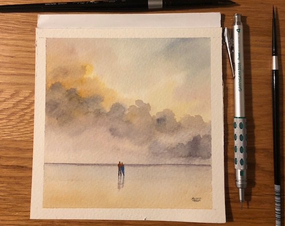 Square small original watercolour painting 'Lean On Me', Couple on stormy beach.  Unique watercolor art direct from the artist, England UK