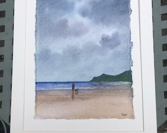 "Original 16"" x 12"" mounted deckled edged watercolour beach painting on handmade paper. 'October Rain' Nefyn beach,  Llyn Peninsula, Wales"