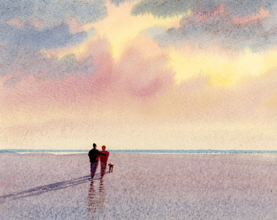 Original small watercolour beach painting, 'All We Need'  original art, couple and dog on sunset beach, unique hand painted watercolor gift