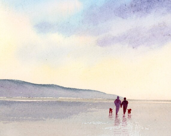 Original small watercolour beach painting, 'Time Out'  original art, couple and dogs on beach,  watercolor gift, dawn, dusk, father's day
