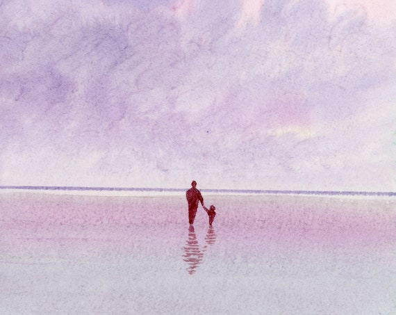 Original small watercolour beach painting. Figure and child on beach, unique art gift, Dad, family, art, purple coloured watercolor wall art