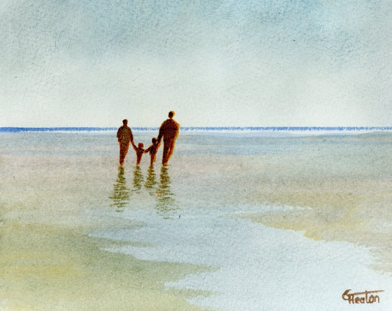 Original small watercolour beach painting, 'Family Ties'  original art, couple and children on beach, unique gift parents or grandparents