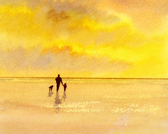 Original small watercolour beach painting. Figure, child and dog on sunset beach 'Sweet Memories'  Father's Day gift, Dad, family, art, dogs