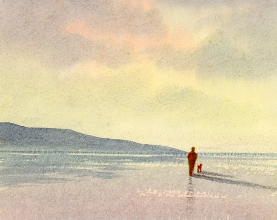 Original small watercolour beach painting, 'Peace And Quiet'  original art, figure and dog on sunset beach,  hand painted watercolor gift