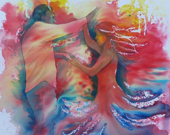 Original Watercolour and Ink A3 Abstract Painting of Dancers, Art, figures dancing in bold colours Bachata, Salsa, Kizomba, Tango dance