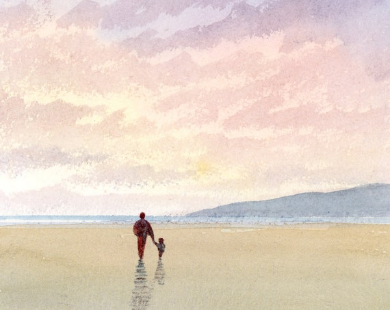 Original small watercolour beach painting. Figure and child on sunset beach. A unique art gift, free shipping to UK direct from the artist