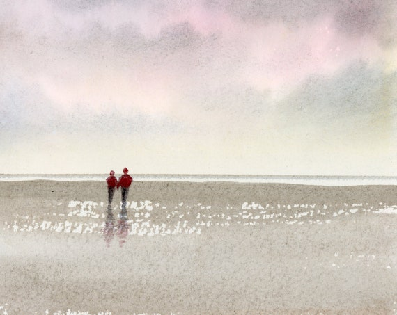 Original small watercolour painting, 'Nowhere I'd Rather Be'  original art, couple on beach, unique hand painted romantic watercolor gift