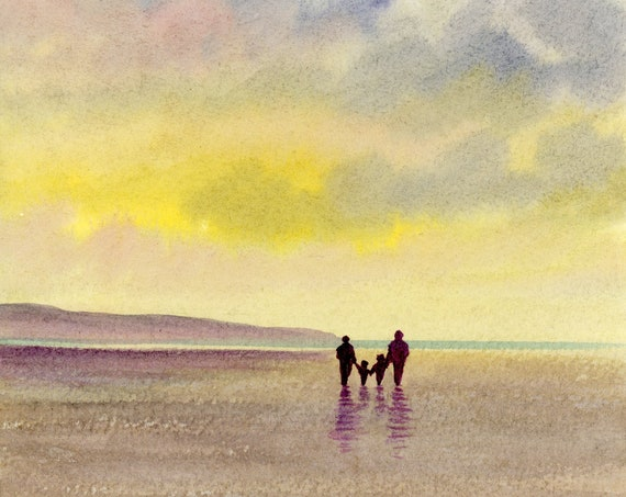 Original small watercolour beach painting, 'Family Time'  original art, couple and children on beach, unique gift parents or grandparents