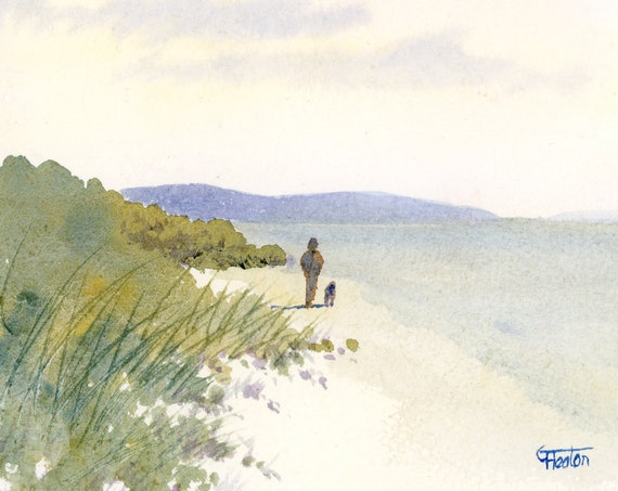 Original small watercolour beach painting, 'A Lovely Day'  original art, figure and dog on beach,  watercolor gift, sandunes, seaside, gift