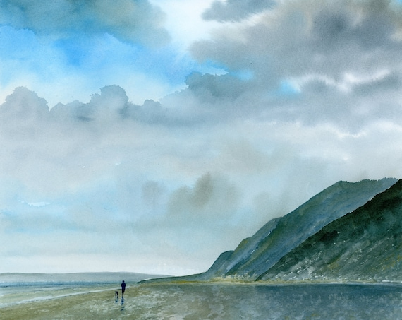 "Original large 22"" x 15"" watercolour painting, figure and dog on Anglesey beach,  big painting on 100% cotton paper, blues and greys seaside"