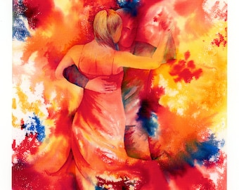 Limited edition just 50 worldwide fine art A4 print from an original watercolour 'Yearning To Dance'  signed and numbered, Tango, Kizomba
