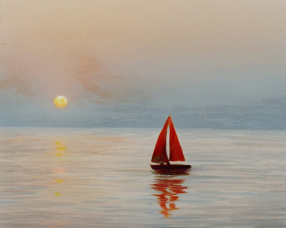Sailing at sunset original A4 vertical watercolour painting 'Red Sails', seascape art and beach paintings and prints direct from UK artist