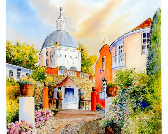 Portmeirion 'The Dome' Very limited edition print, only 50 available worldwide from an original watercolour painting, signed and numbered