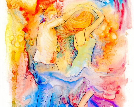 Limited edition 'A Chance To Dance'  just 50 worldwide fine art A4 print from an original watercolour signed & numbered, dancers, dancing