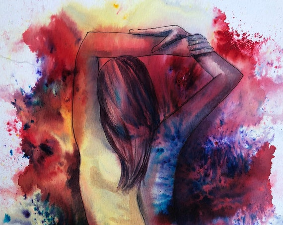 Original watercolour abstract female nude painting, 'Jessica' colourful modern art