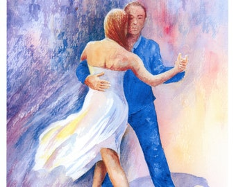 Argentine Tango Hand finished and personalised very limited edition print on watercolour paper,  'Return To Tango' hand painted dance shoes