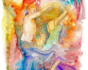Limited edition A3 size  'A Chance To Dance'  just 25 worldwide fine art print from an original watercolour, dancers, dancing, salsa, ceroc
