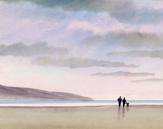 Original watercolour painting, couple and Poodle on stormy beach A4 size watercolor, original art gift direct from the artist in England UK