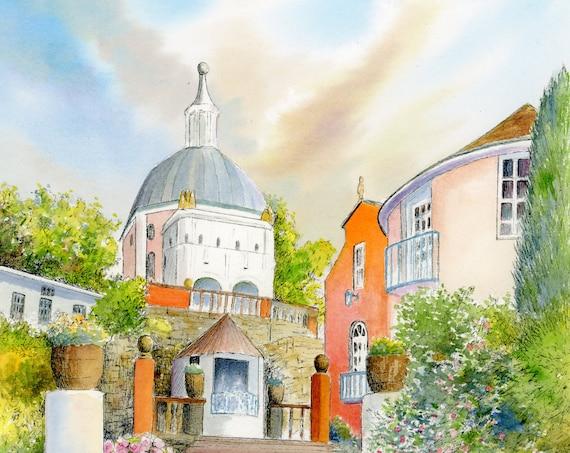 """Original watercolour painting, 'The Dome', Portmeirion, Wales on 100% cotton Arches paper 26 x 36cm (14"""" x 10"""") watercolor, landscape art"""