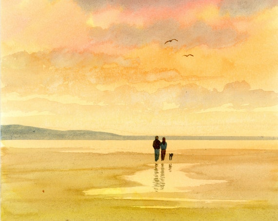 Original small watercolour beach painting, couple and dog on sunset beach, hand painted watercolor gift A5 Size, UK artist beach watercolor