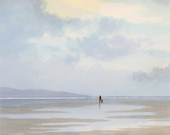 """Square original watercolour painting, figure and dog on morning beach, 20cm x 20cm,  8"""" x 8"""" size watercolor, original art from UK"""
