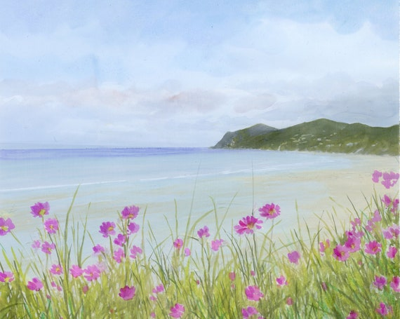 Nefyn original watercolour painting, square floral landscape artwork, Llyn Peninsula beach paintings and prints direct from UK artist