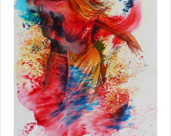 Very limited edition just 25 worldwide fine art print from an original watercolour 'I hope You Dance'  signed and numbered, Salsa, Bachata