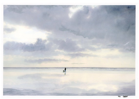 A3 size limited edition print 'Digger', figure and dog on beach from an original watercolour painting, direct from UK artist