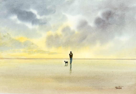 Original watercolour painting, figure and Boston Terrier dog on beach A4 size watercolor, original art gift direct from England UK