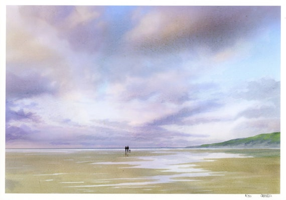 Very limited edition print from an original watercolour painting 'Under Cotton Clouds', distant couple and dog on beach, only 50 worldwide