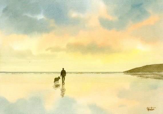 Original watercolour painting, Man and German Shepherd Dog on sunset beach, A4 size watercolor original art gift from the artist, England UK