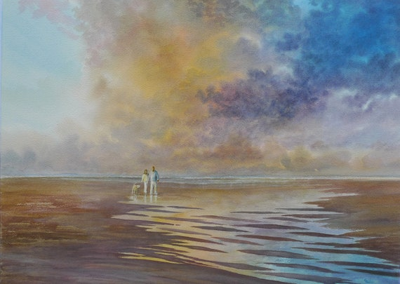 "Original very large 30"" x 22"" watercolour painting, couple and dog on storm lit beach, huge statement piece on 100% cotton paper, Labrador"