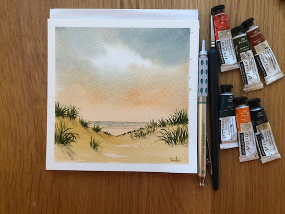 Square small original watercolour beach painting, Sand Dunes, Formby Beach. Sefton hand painted watercolor art gift, England UK artist