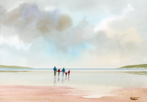 Original watercolour painting, 'Family' couple and 3 children on beach, A4 size 297mm x 214mm  watercolor unique gift Dad, Mum, Kids