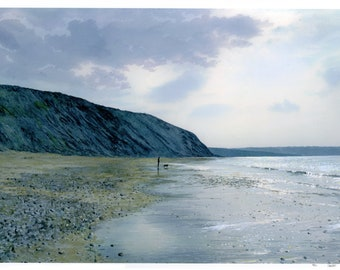 A3 size limited edition print of Tresaith Beach, figure and dog on beach from an original watercolour painting, direct from UK artist,