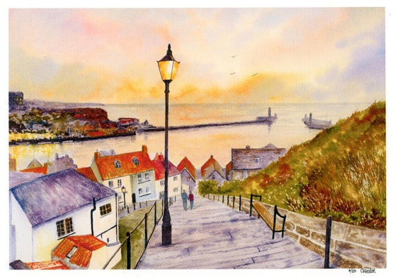 New for 2021 '199 Steps, Whitby', Hand finished and personalised very limited edition print on watercolour paper, hand painted art