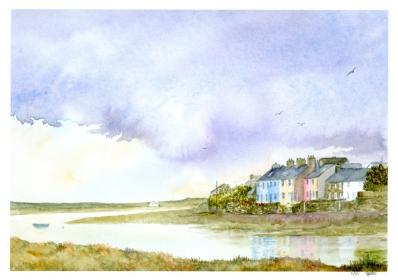 Aberffraw, Anglesey hand finished very limited edition print on watercolour paper, 'Aberffraw Storm', Wales, estuary and cottages painting,