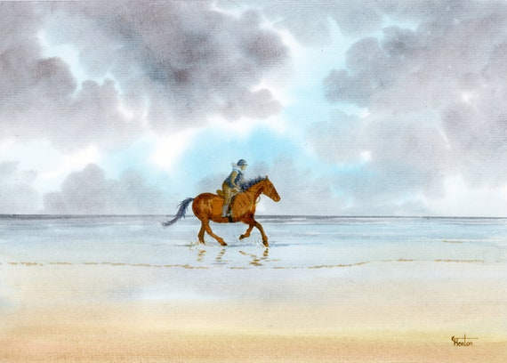 Original watercolour painting, horse rider on stormy beach, A4 size watercolor, original art gift direct from the artist in England UK