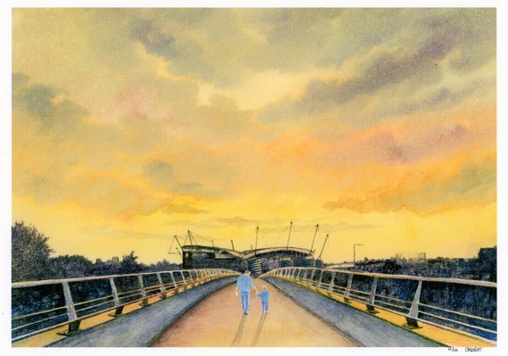 Etihad Stadium, Hand finished limited edition print on watercolour paper,  hand painted figures of man and child, Manchester at Sunset.