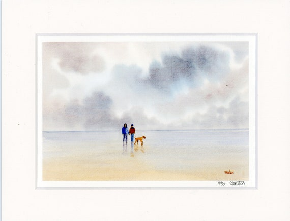 "Mounted 9"" x 7"" Limited Edition Print on watercolour paper, 'The Boxer' couple and dog on beach from an original watercolour painting, UK"