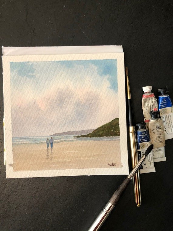 Square small original watercolour beach painting,  couple on beach in Anglesey Wales,  affordable hand painted delicate watercolor gift,  UK