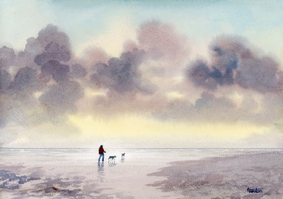 "Original watercolour painting, 'Salty Paws and Storm Clouds ' figure and dogs on beach, A4 size 297mm x 214mm (11.5"" x 8.25"") watercolor"