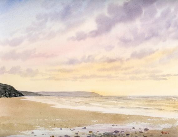 Original watercolour painting Penbryn Beach, Cardigan Bay 30 cm x 24 cm watercolor art gift, Bae Ceredigion, Wales