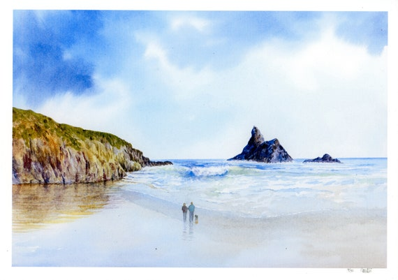New 2021 Church Rock, Broad Haven beach Hand finished very limited edition print on watercolour paper, Couple and dog, personalised art