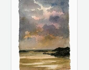 "Original 12"" x 10"" mounted deckled edged watercolour Sunset Trearddur Bay beach painting on handmade paper. Anglesy, Ynys Mon. Art from UK"