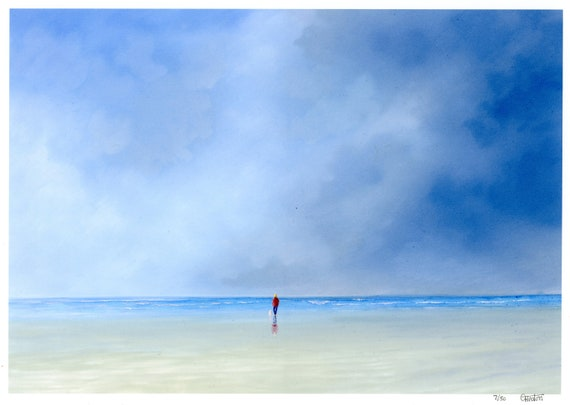 Perfect Storm A4 Hand finished very limited edition print on watercolour paper, hand painted art gift, figure and little white dog on beach