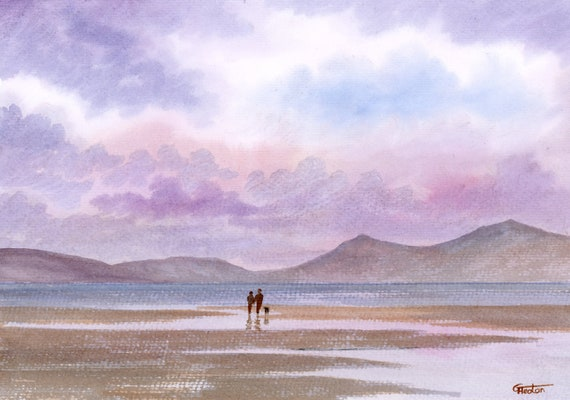 Original watercolour painting, Llanddwyn Beach, Newborough,  couple and dog on beach A4 size watercolor, art gift, Anglesey Wales painting,