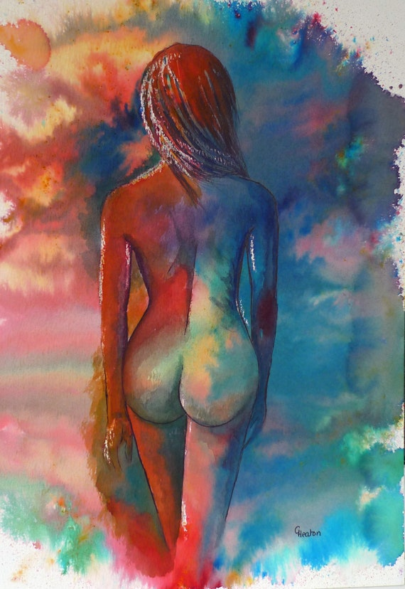 Original watercolour abstract female nude painting, 'Renee' colourful modern art, figure, nudes,
